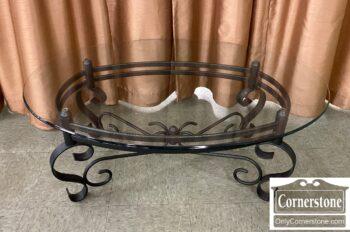 7631-2 - Glass Top Coffee Table Green Metal Base