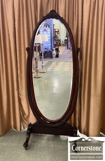 7635-2 - Mah Victorian 1890s Cheval Mirror