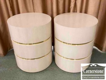 7681-1 - Pr Contemp Drum Tables Off White