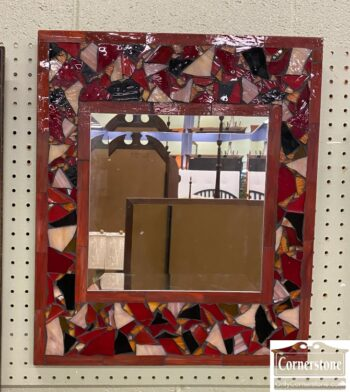 7684-6 - Mirror with Red Stained Glass