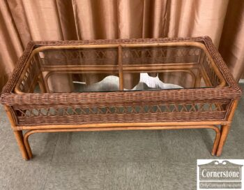 7721-2 - Glass Top Wicker Coffee Table