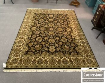 7749-4 - Black Tan Wool Hand Knotted Indo Agro Rug