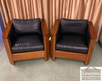 7752-3 - Pr Stickley Cube Chairs Blk Leather
