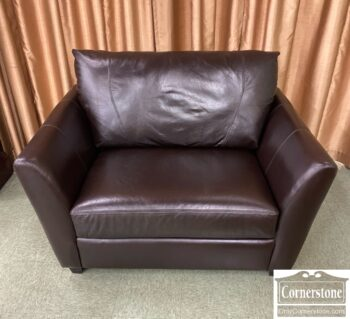 7784-2 - Alexander Julian Cont Leather Chair and Half