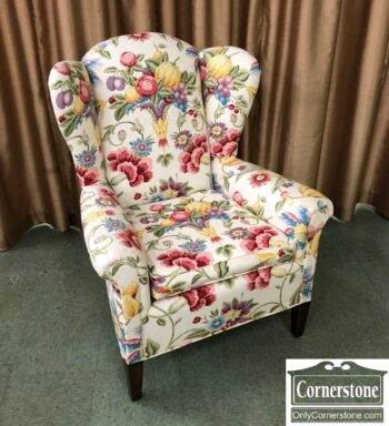 7898-2-Floral Wing Chair Tapered Leg