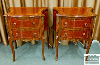 6070-1 Pair of French Style 2 Drawer End Tables with Brass