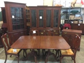 Henkel Harris Solid Cherry Table, Chairs, Breakfront, Corner Cabinet and Server.